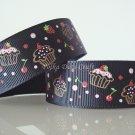 1 Yard of Strawberry Cupcake Grosgrain Ribbons Dessert Cherry Black Hair Bows, Birthday Party, R72