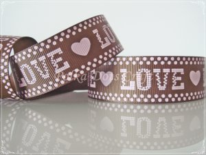 """1 Yard of 1"""" Love & Heart Grosgrain Ribbon, Bridal Party Mother's Day Valentine's, Scrapbooks, R100"""