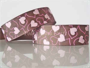 "1 Yard of 1"" Heart Grosgrain Ribbon, Brown, Bridal, Wedding Gift Mother's Day Valentine's, R99"