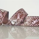 """1 Yard of 1"""" Love Bunny Ribbon, Brown, Bridal,Wedding, Gift Mother's Day Valentine's, R92"""