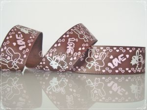 "1 Yard of 1"" Love Bunny Ribbon, Brown, Bridal,Wedding, Gift Mother's Day Valentine's, R92"