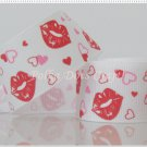 "1 Yard of 1"" ""Kisses - White"" Grosgrain Ribbon, Lips, Heart, Love, Valentine's, R94"