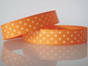 "1 Yard of 5/8"" Orange Polka Dots Grosgrain Ribbon, Halloween, Fall, Gift Wrap Photo Decor,  R24"