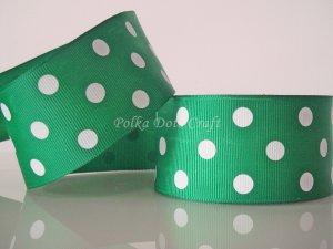 "1 Yard of 1-1/2"" Green Polka Dots Grosgrain Ribbon, St. Patrick's Day Christmas, Photo Decor, R52"