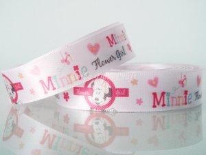 "1 Yard of 5/8"" Disney Minnie Mouse & Flowers Satin Ribbon, Pink, Hair Bows, Scrapbooks, R250"
