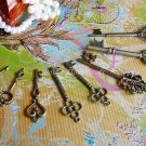Lot of 8 Antique Design Skeleton Key Charms Vintage Bronze Pendant Bracelet Heart Crown, K-S1