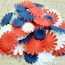 100 pcs of Paper Flowers Petals, Embellishments, Red, White, & Blue Colors, F1