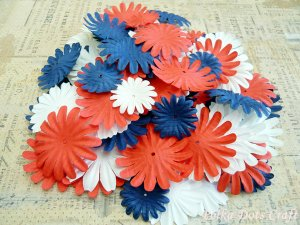 100 pcs of Paper Flowers Petals, Embellishments, Red, White, & Blue Colors, F1