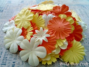 150 pcs of Paper Flowers Petals, Embellishments, Scrapbooks, Yellow Orange Cream Colors, F6