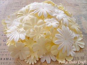 200 pcs of Paper Flowers Petals, Embellishments, Scrapbooks, White & Cream Colors, F7