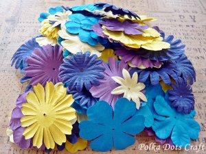100 pcs of Paper Flowers Petals, Embellishments, Scrapbooks, Purple Yellow Blue Color, F12