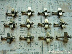 12 pcs Mini Air Planes Charms, Vintage Antique Look Bronze Pilots Air Force, O59