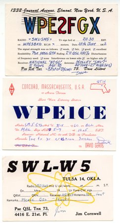 3 SWL-QSL cards from USA -1960s - Sweden Shop
