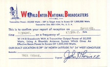 QSL 1983 World International Broadcasters WINB -signed - Sweden Shop