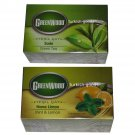 GREEN TEA - GREENWOOD - PLAIN OR MINT & LEMON - 1 Pack