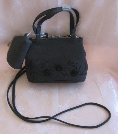 Fancy Flower Black Purse With Matching Coin Bag