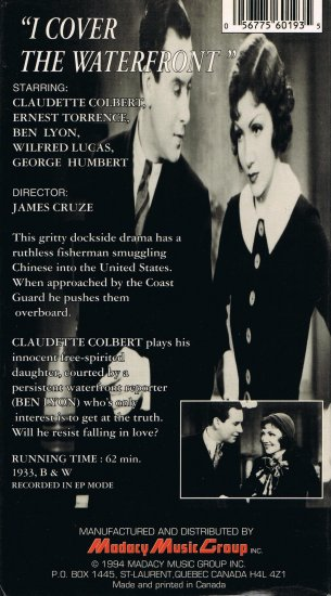 I Cover The Waterfront Movie Video Hollywood Classics Claudette