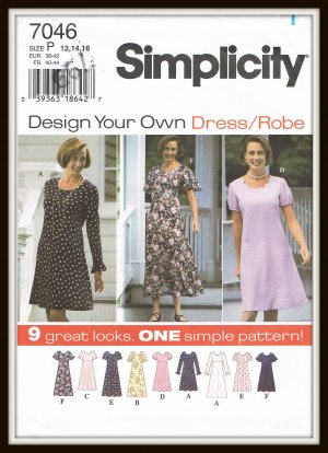 61b4f94c1e0b Simplicity Sewing Pattern No. 7046 Design Your Own Dress Sizes P 12 ...
