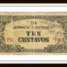The Japanese Government Ten Centavos PR Old Invasion Money Vintage Banknote