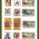 United States Christmas Holiday Postage Stamps Vintage