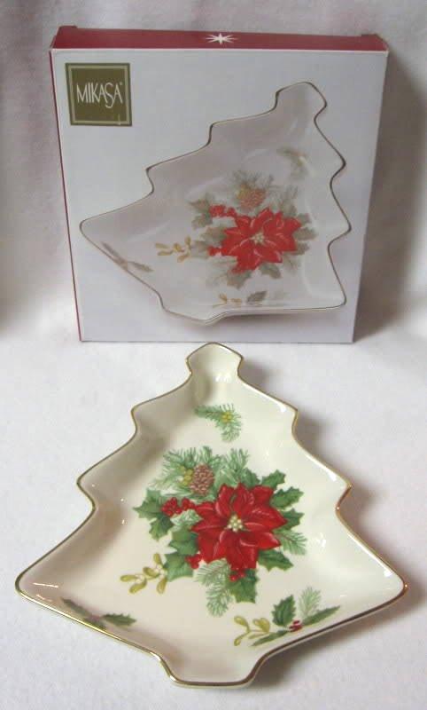 Mikasa Holiday Bloom Christmas Tree Candy Dish Fine China