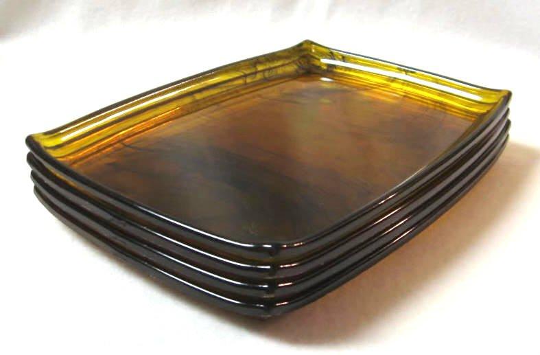 Set of 4 Vintage Amber Black Lucite Snack Trays Serving Retro