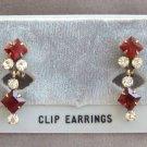 Red Stone Dangle Earrings Vintage Retro 1950's 12K