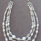 Triple Strand Crystal White Aurora Borealis Beaded Necklace West Germany Vintage 50's