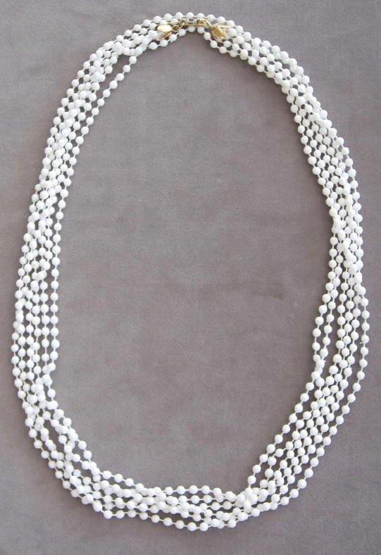 Triple Strand White Beaded Necklace Vintage Hong Kong Retro 50's