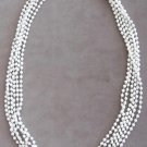 Triple Strand White Beaded Necklace Vintage Hong Kong Retro 50's