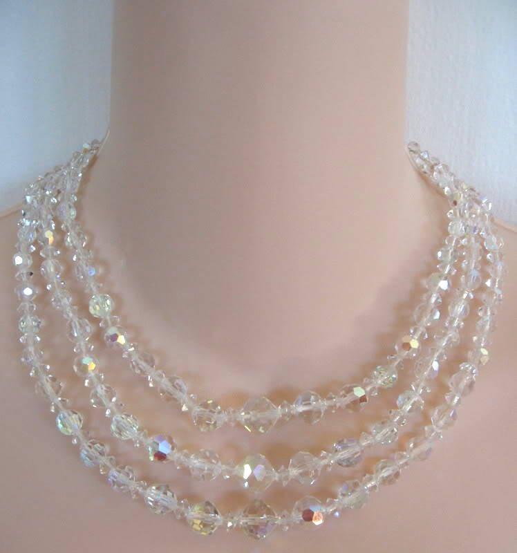 Vintage Triple Strand Aurora Borealis Crystal Glass Beaded Necklace Retro Japan 50's