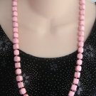 Pink Beaded Necklace 28 Inch Vintage