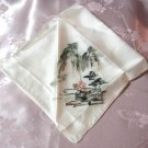 Satin Vintage Hand Painted Hankie Handkerchief