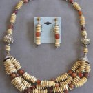 Amber Chunky Beaded 4 Strand Necklace & Earrings Vintage Jewelry Set