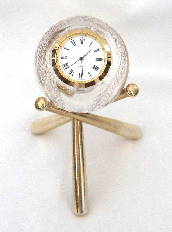 Baseball Shaped Lead Crystal Clock With Bat Stand