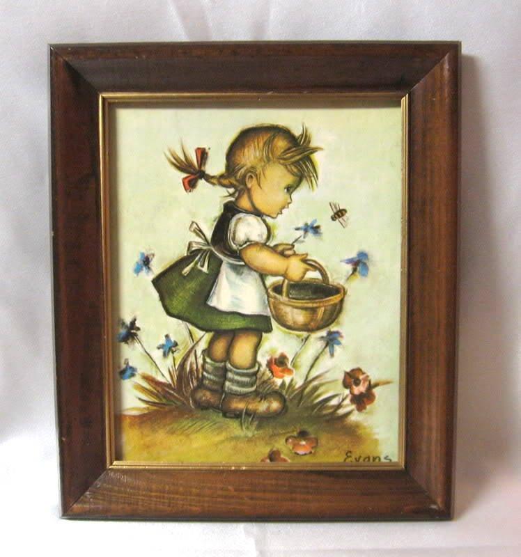 Hummel Girl Child Print In Wooden Frame 12x10 Signed Evans Vintage Wall Decor