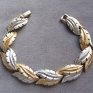 Vintage Brushed Silver And Gold Leaf Bracelet Retro
