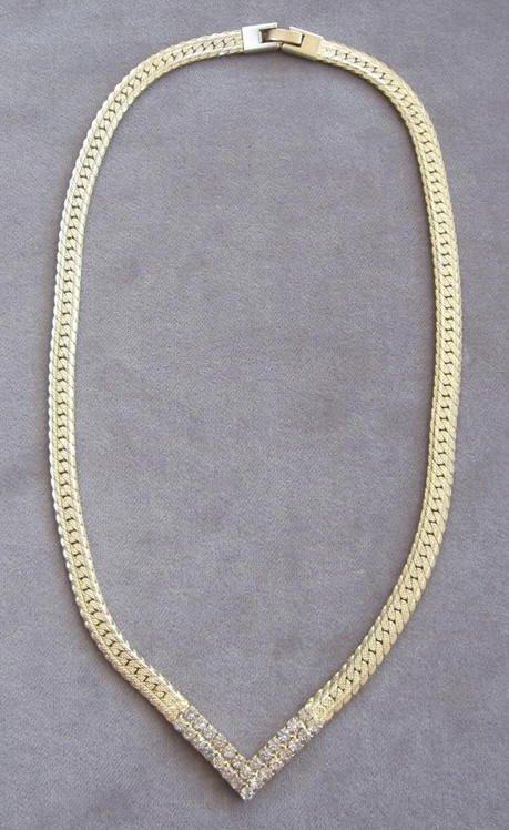 Rhinestone Necklace Vintage Gold Chain 80s