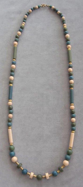 Bead Necklace Beige Green & Blue Vintage