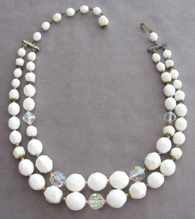 Crystal Aurora Borealis White Bead Necklace Double Strand Vintage Retro