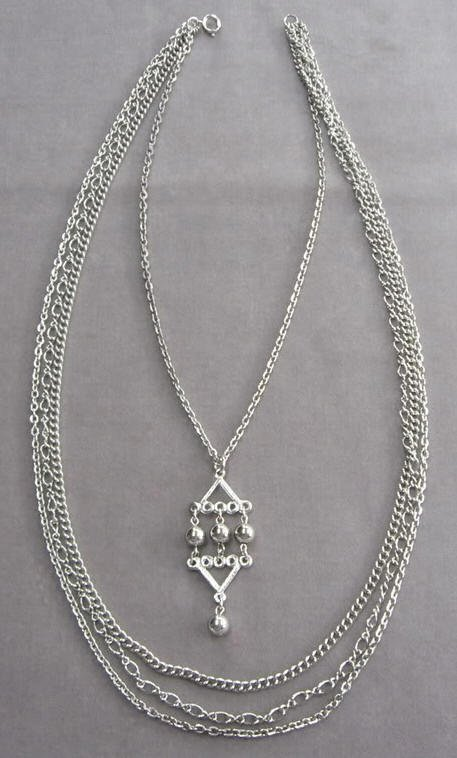 Silver Beaded Pendant Necklace 4 Strand Vintage