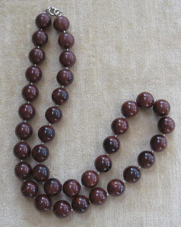 Vintage Brown Beaded Necklace Retro 70's