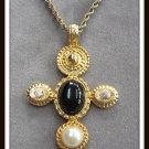 Black Cabochon Rhinestone Cross Pendant Necklace Vintage