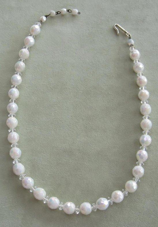 White Vintage Aurora Borealis Glass Beaded Necklace Japan