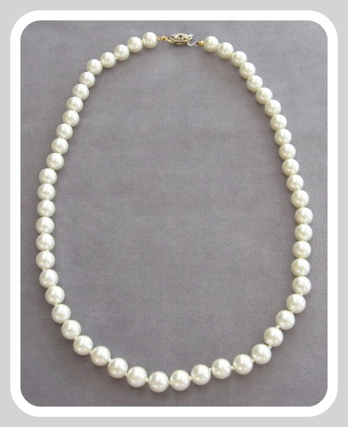 Glass Pearl Beaded Necklace Vintage Gold Clasp