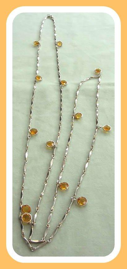 Yellow Glass Bezel Pendant Necklace Vintage 1960's