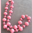 Pink Beaded Necklace Signed Hong Kong Vintage 1950's