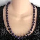 Purple Black Beaded Necklace Unique Shape Vintage