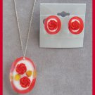 Double Red Rose Lucite Pendant Necklace & Earrings Sterling Chain Retro 1950's Vintage Jewelry Set