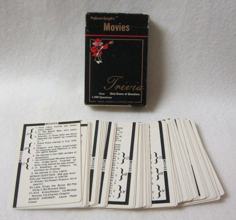 Movie Trivia Card Game Professor Quizzles Quiz Wizard 1984 Vintage